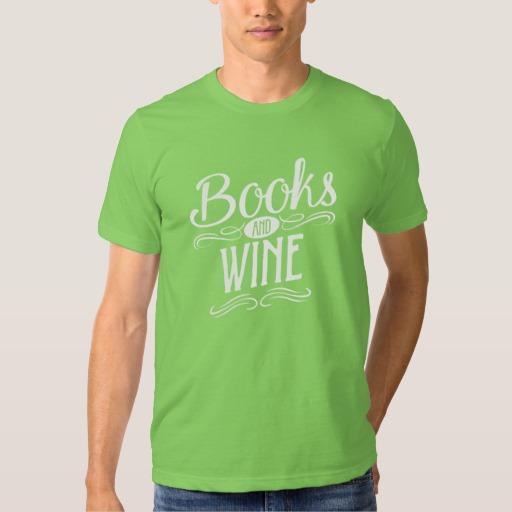 Books and Wine Shirt (men's white design)