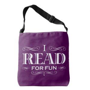 I Read For Fun Cross Body Bag (white design)