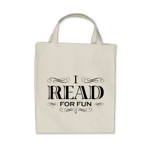 I Read For Fun Grocery Tote Bag (black design)