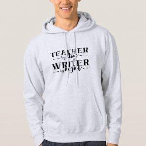 Teacher by Day, Writer by Night Shirt (men's black design)