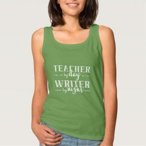Teacher by Day, Writer by Night Shirt (women's white design)