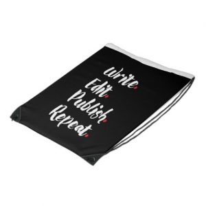 Write. Edit. Publish. Repeat. Budget Drawstring Backpack (white design)