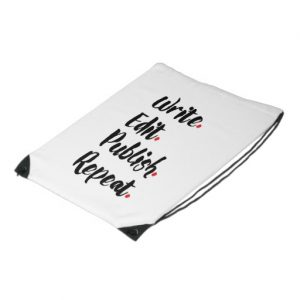 Write. Edit. Publish. Repeat. Budget Drawstring Backpack (black design)