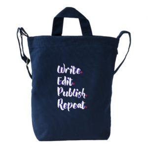 Write. Edit. Publish. Repeat. Duck Bag (white design)