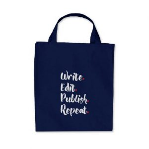 Write. Edit. Publish. Repeat. Grocery Tote Bag (white design)