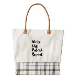 Write. Edit. Publish. Repeat. Tote Bag (black design)
