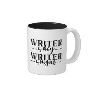 Writer by Day, Writer by Night Mug (black design)