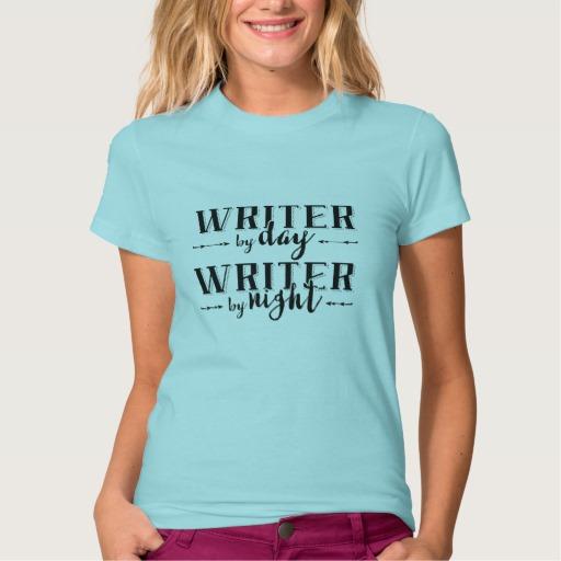 Writer by Day, Writer by Night Shirt (women's black design)