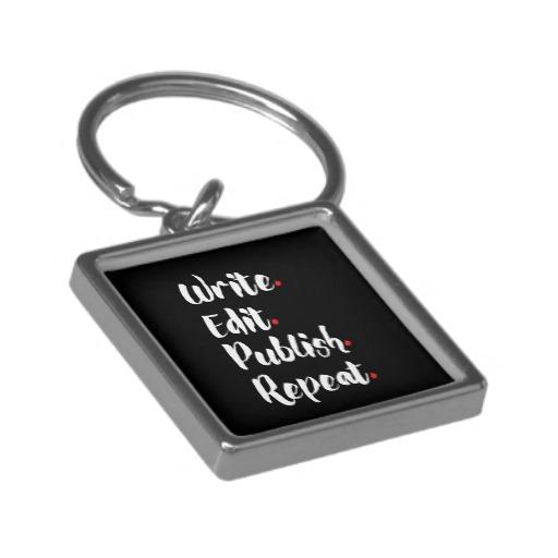 Write. Edit. Publish. Repeat. Silver-Colored Square Keychain (white design)