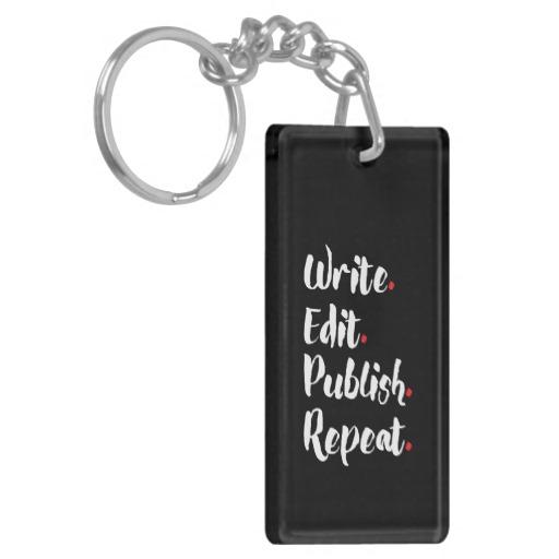 Write. Edit. Publish. Repeat. Single-Sided Rectangular Acrylic Keychain (white design)