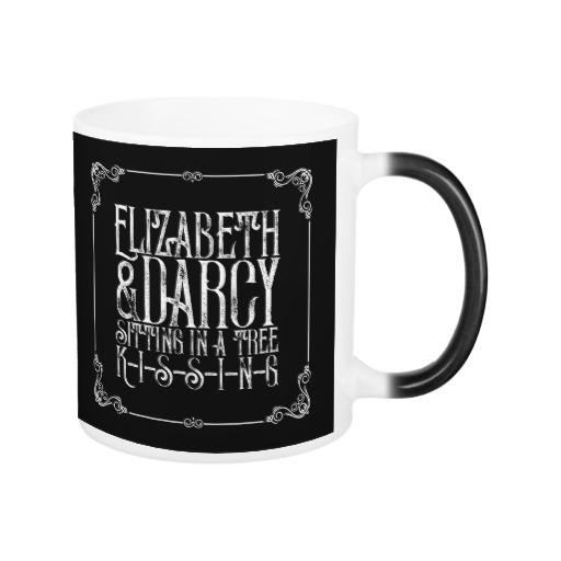 Elizabeth & Darcy Sitting in a Tree KISSING - Jane Austen Mug (white design)