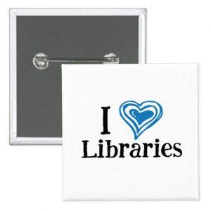 I [Heart] Libraries Button (blue/black)