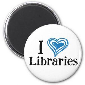 I [Heart] Libraries Magnet (blue/black)