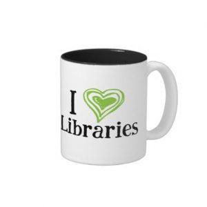 I [Heart] Libraries Mug (green/black)