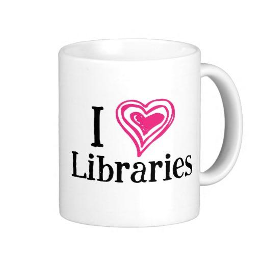 I [Heart] Libraries Mug (pink/black)
