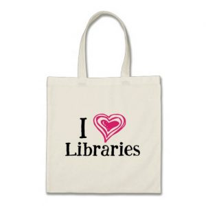 I [Heart] Libraries Tote Bag (pink/black)