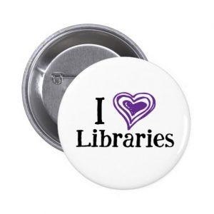 I [Heart] Libraries Button (purple/white)