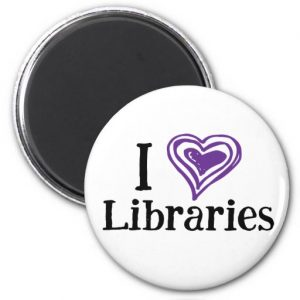 I [Heart] Libraries Magnet (purple/black)