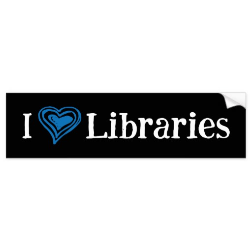 I [Heart] Libraries Bumper Sticker (blue/white)