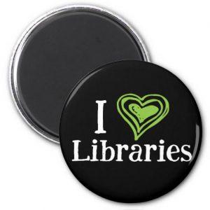 I [Heart] Libraries Magnet (green/white)