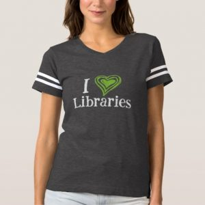 I [Heart] Libraries Women's Shirt (green/white)