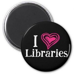 I [Heart] Libraries Magnet (pink/black)