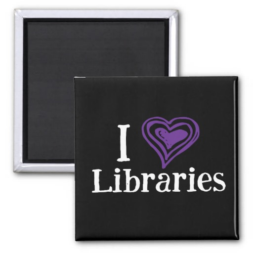 I [Heart] Libraries Magnet (purple/white)
