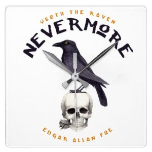 Quoth the Raven Nevermore - Edgar Allan Poe Clock