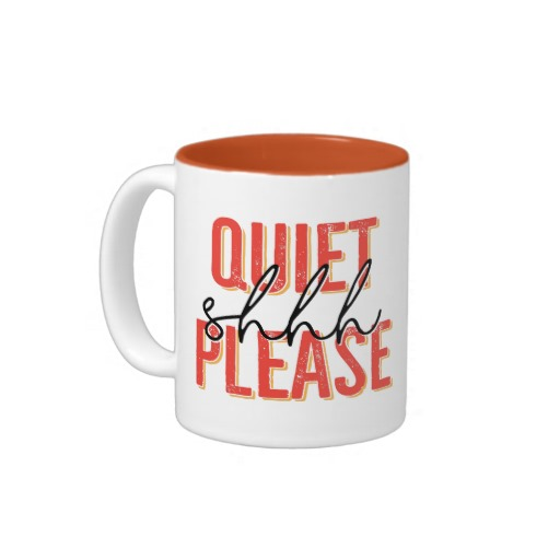 Shhh Quiet Please Mug (orange/black)