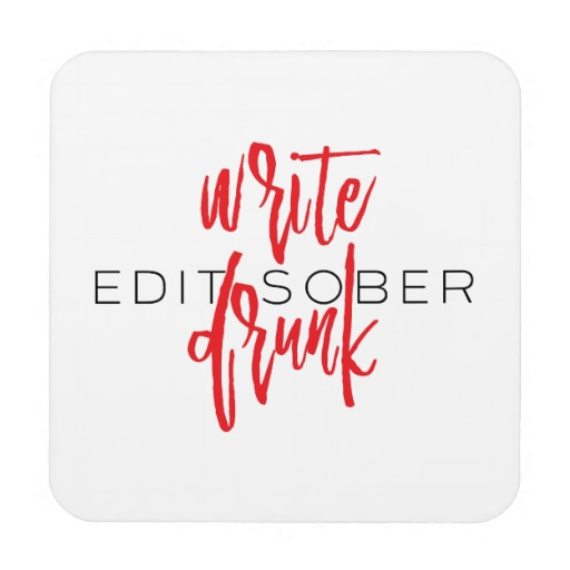 Write Drunk Edit Sober Plastic Coaster (red and black)