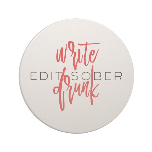 Write Drunk Edit Sober Sandstone Coaster (red and black)