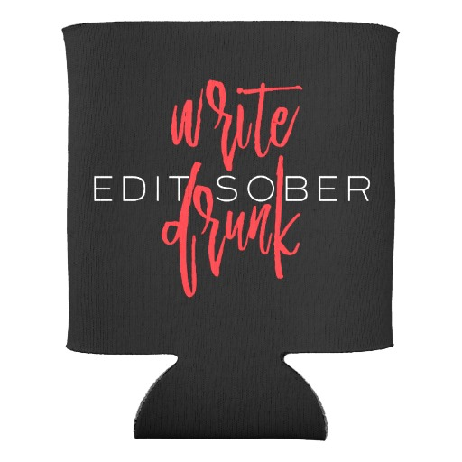 Write Drunk Edit Sober Can Cooler (red and white)