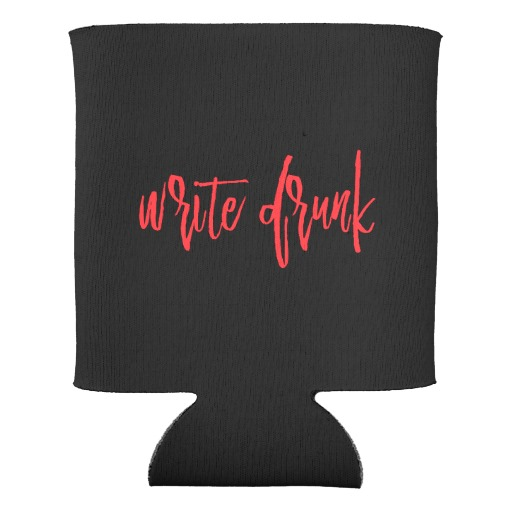 Write Drunk Edit Sober Can Cooler Double-sided (red and white)