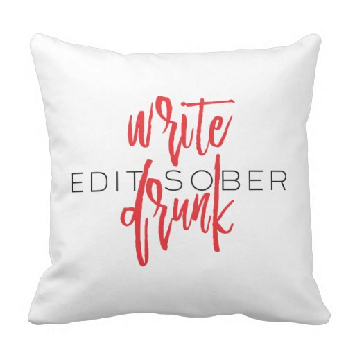 Write Drunk Edit Sober Square Pillow (red and black)