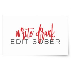 Write Drunk Edit Sober Long Sticker (red and black)