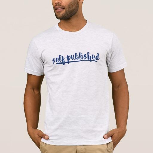 Self-published Man's Shirt (blue writing)