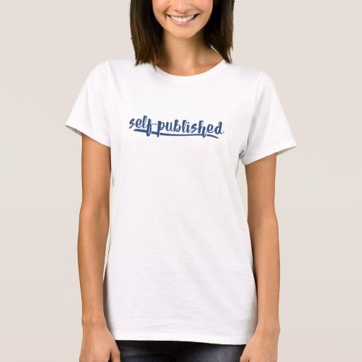 Self-published Woman's Shirt (blue writing)
