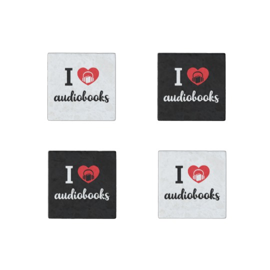 I Heart Audiobooks Square Magnet Set