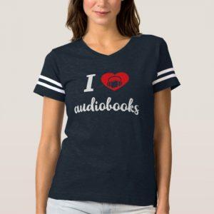 I Heart Audiobooks Women's Shirt (white design)