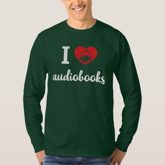 I Heart Audiobooks Men's Shirt (white design)